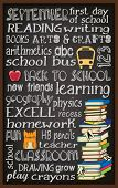Back to School Chalkboard Typography Poster, with stack of books, kitten, teacher's apple and school