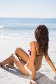 Sexy tanned woman in bikini relaxing on the beach