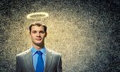 pic of halo  - Image of businessman with halo above head - JPG