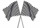 stock photo of sidecar  - Two large Checkered Flag made in 2d software - JPG