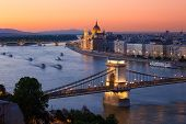 Budapest Cityscape Sunset With Chain Bridge And Parliament Building