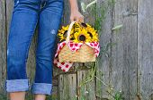 young girl with sunflower basket