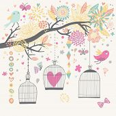 Freedom concept card. Birds out of cages. Romantic floral background in bright colors