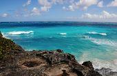 Volcanic Rocks Over Sea