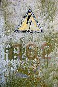 Abandoned military base  near Chernobyl alienation area, Ukraine.Radio communication centre.High voltage sign