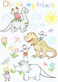 Vector sketches happy children's and dinosaurs. Sketch on notebook page