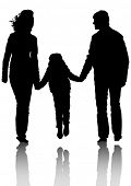 Silhouette families with a little child