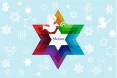 stock photo of israel israeli jew jewish  - template card with jewish symbols and peace dove - JPG
