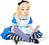Alice in Wonderland reading a book
