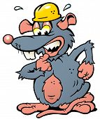 Hand-drawn Vector Illustration Of An Scared Rat With Yellow Helmet