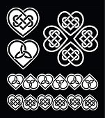 Irish, Scottish celtic heart vector pattern