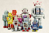 retro robot toy group