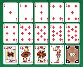 Set of playing cards of Diamonds on green background. The figures are original design as well as the