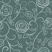 Floral seamless gray