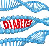 Diabetes Word DNA Strand Cure Medical Research