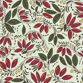 picture of barberry  - seamless texture in the Russian style with barberry - JPG