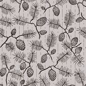 Pattern With Fir Conesand Twigs  Spruce