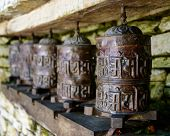 Ancient prayer wheels in Nepal