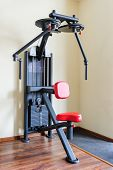 peck back gym machine for shoulders, pectoral, deltas and laterals workout
