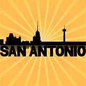San Antonio skyline reflected with sunburst illustration