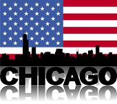 Chicago skyline and text reflected with flag vector illustration