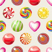 image of lollipops  - bright lollipop seamless pattern - JPG