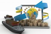 Cardboard boxes around the globe on a laptop screen and two cargo ships. Concept of online goods orders worldwide