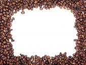 Brown Roasted Coffee Beans Photo Frame With White Empty Space For Your Design.