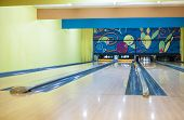Bowling Playground Lanes With One Ball In Skittles