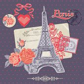 Scrapbook Design Elements - Paris Vintage Card with Stamps - in vector