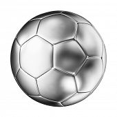 3d image of silver soccer ball