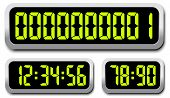 Set Of Digital Numbers. Countdown Timer