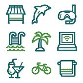 Vacation web icons, green line set