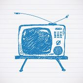 Sketch of retro TV set Vector