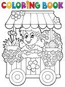 Coloring book flower shop theme 1 - eps10 vector illustration.