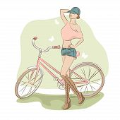 Illustration of young woman and her bike