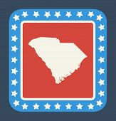 pic of south american flag  - South Carolina state button on American flag in flat web design style - JPG