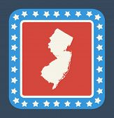 New Jersey state button on American flag in flat web design style, isolated on white background.