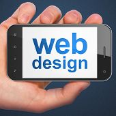 SEO web development concept: Web Design on smartphone