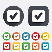 Check mark sign icon. Checkbox button.