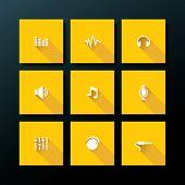 Audio icon set - vector illustration