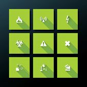 Hazard warning icon set - vector illustration