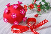 Red Easter Egg Decorated With Pink Flowers With Bow