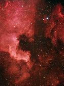stock photo of hydrogen  - The North America Nebula and the nearby Pelican Nebula are parts of the same interstellar cloud of ionized hydrogen - JPG