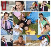 Montage of a successful working man, father and husband balancing working & family life, on cell pho