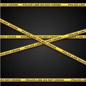 Police line yellow tape vector template with dark background.