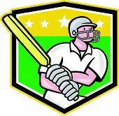 Cricket Player Batsman Batting Shield Star