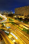 Hongkong traffic night,aerial view of the city overpass