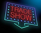 stock photo of trade  - Illustration depicting an illuminated neon sign with a trade show concept - JPG