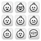 Baby boy faces, avatar vector buttons set